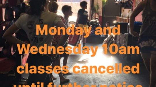 Monday and Wednesday 10am classes are cancelled until further notice