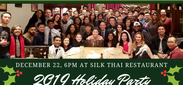 Holiday Party: December 22 at Silk Thai Restaurant- RSVP by the 16th!